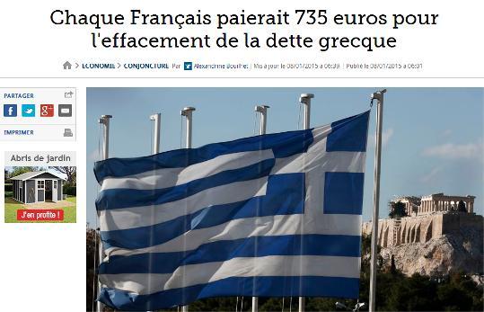 Le Figaro: 735 ευρώ θα στοίχιζε σε κάθε Γάλλο πολίτη η διαγραφή του ελληνικού χρέους