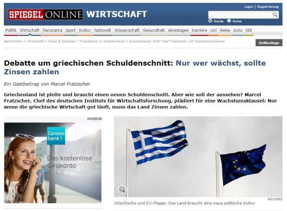 Ο Φράτσερ στο Spiegel: Η Ελλάδα είναι χρεοκοπημένη